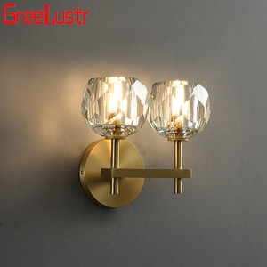 Nordic Copper Crystal LED Wall Sconce Ball Loft Wall Lamp Brass Wall Lights crystal Bedside Lamp for Home Decor Wedding Fixture