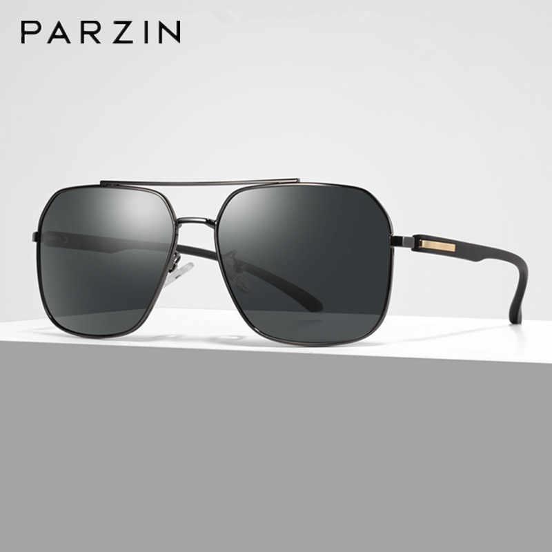 Parzin polarizado homem óculos de sol nova armação de metal óculos de sol para masculino retângulo motorista óculos de condução uv 400 eyewear