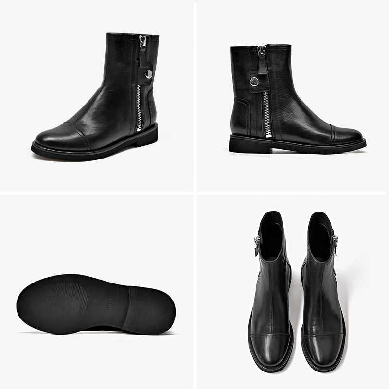 BeauToday yarım çizmeler kadın hakiki deri dana derisi yuvarlak ayak fermuar toka sonbahar kış bayan moda çizmeler el yapımı 02016