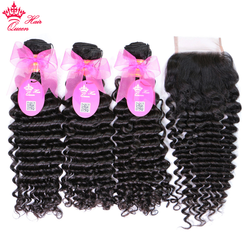 100% Human Brazilian Hair Deep Wave Bundles With Closure Weave Free Part Lace Closure With Hair Remy Hair Queen Hair Products