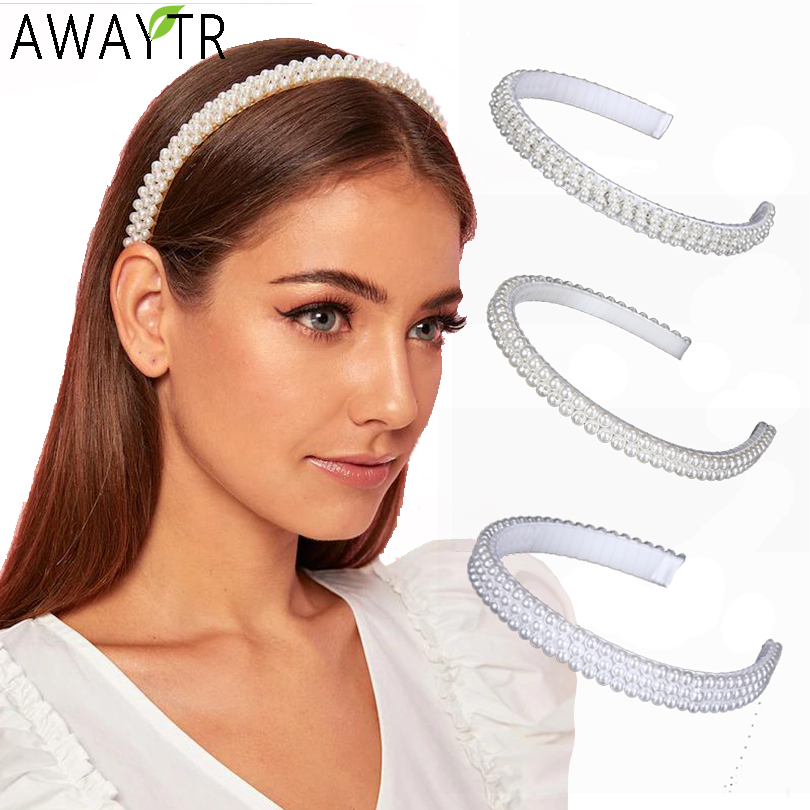AWAYTR Korea Headband White Pearl Crystal Beaded Hairbands For Women Hair Bands Hoop Slip Simple Girls Hair Accessories Headwear