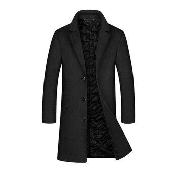 YOUTHUP Men's Winter Long Jacket Wool Single Breasted Slim Business Coats Overcoats Topcoat Mens Fitness Coat Streetwear 2 Color