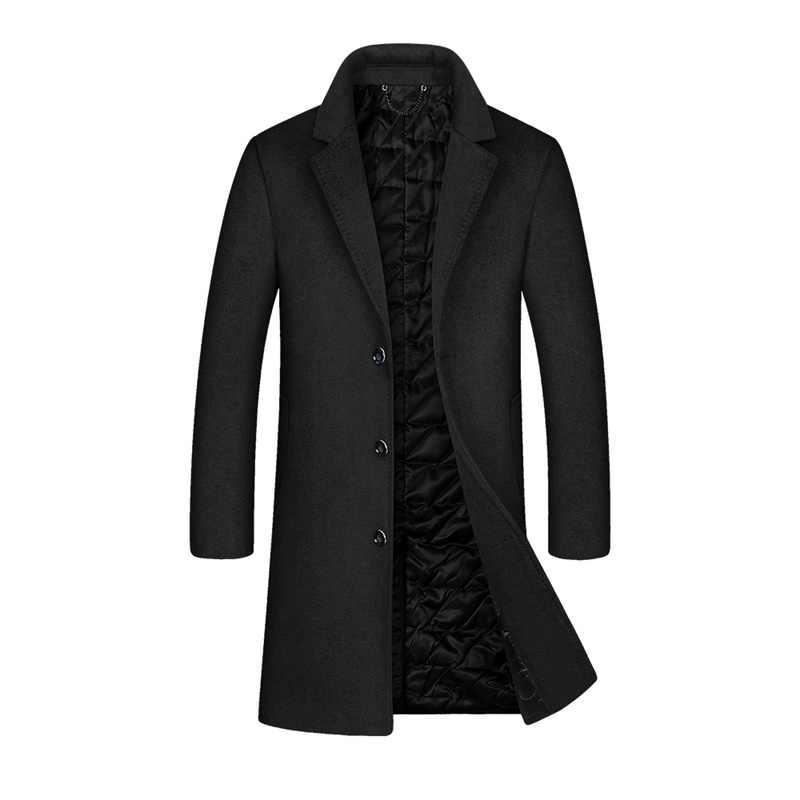 YOUTHUP erkek kış uzun ceket yün tek göğüslü ince iş palto paltolar son kat erkek spor ceket Streetwear 2 renk