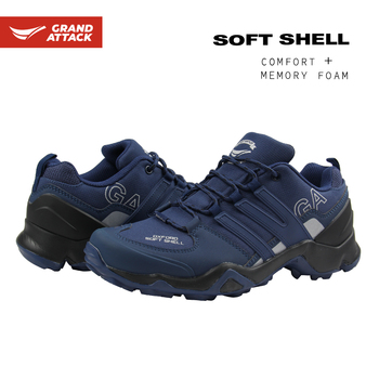 Grand Attack Mens Soft Shell Lace Up Outdoors Walking Hiking Trekking Backpacking Waterproof Lightweight Shoes Trainers