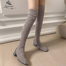 Sgesvier Women Stretch Boots Winter Thick Heel Over the Knee Boots Slim Girl Tall Boots Female Shoes Big Size 33-43 Footwear(China)