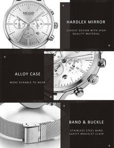 Image 5 - MEGIR Women Watch Waterproof Top Brand Luxury Chronograph Ladies Wristwatch Stainless Steel Classic Bracelet Female Clock 2011