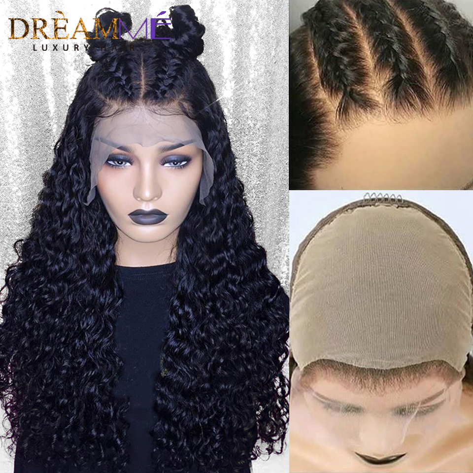 Invisible Fake Scalp Lace Wig 13*6 Lace Front Curly Human Hair Wig For Women Black Pre Plucked HD Transparent Lace Wig Remy