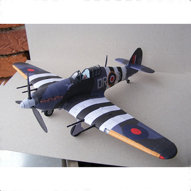 1:33 British Hurricane Fighter DIY 3D Paper Card Model Building Sets Construction Toys Educational Toys Military Model 1