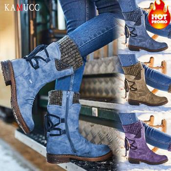 KAMUCC damskie buty zimowe buty do połowy łydki buty damskie zakolanówki ciepłe wysokiej jakości Botas Mujer Plus Size tanie i dobre opinie Pasuje prawda na wymiar weź swój normalny rozmiar Okrągły nosek Zima Lace-up Patchwork Kopyt obcasy Buty śniegu RUBBER