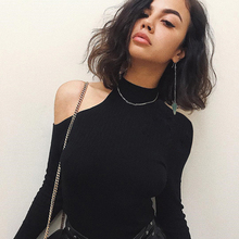 Strapless Velvet Sexy shoulder Women Autumn Long Sleeve shirt turtleneck Short Black Slim Casual