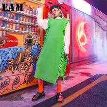 [EAM] Women Green Ruffles Split Joint Long Knitting Dress New Round Neck Sleeveless Loose Fit Fashion Spring Autumn 2019 1D791(China)