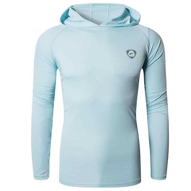 กางเกงยีนส์ผู้ชาย UPF 50 + UV กลางแจ้งแขนยาว TEE เสื้อ TShirt เสื้อยืดชายหาดฤดูร้อน LA271 LightGray