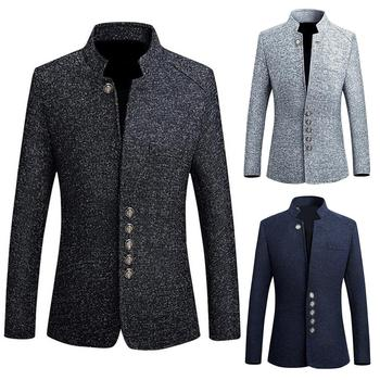 Men Solid Color Long Sleeve Stand Collar Single-breasted Plus Size Sliming Blazer Collar Jackets Male S-lim Fit Suit Jacket