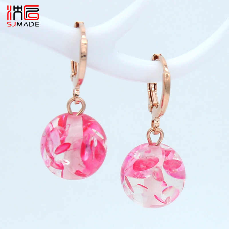 SJMADE 585 Rose Gold New Fashion Round Colorful Dangle Earrings For Women Girls Wedding Daily Jewelry South Korean Cute Eardrop