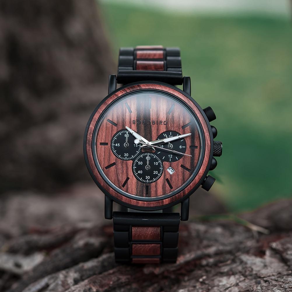 H5e41ac84ee80491c852688bfded441e49 BOBO BIRD Wooden Watch Men erkek kol saati Luxury Stylish Wood Timepieces Chronograph Military Quartz Watches in Wood Gift Box