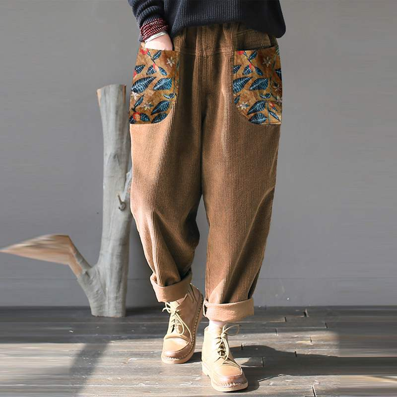 Plus Size Turnip Women's Corduroy Pants Floral Stiching Trousers Vintage Female Elastic Waist Long Pantalon Female Palazzo 5XL