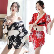 New Woman Sexy Homewear Bathrobe Japanese Kimono Cosplay Costume Floral Pattern Sleepwear