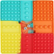 Big Size Pop Fidget Toy with Dice, Rainbow Chess Board Push Bubble Family Multiplayer Game for Kids Adults Autism Special Needs