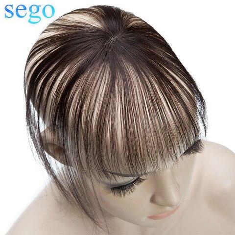 Franja de ar com Templos Grampo em Extensões de Cabelo Sego Real Natural Cabelo 3d Fina Pequena Não Remy Humano 360 Franja Hairpiece 100%