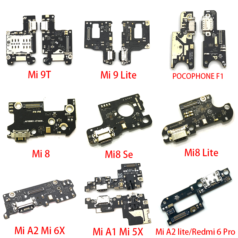 USB Charger Charging Dock Port Connector Flex Cable For Xiaomi Mi 9T A3 A2 A1 9 Se 8 Lite Max 3 Black Shark POCOPHONE F1 Parts