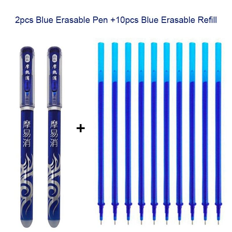 2+10PCS/Set Erasable Pen Kawaii 0.5mm Blue / Black Ink Magic Ballpoint Pen Office School Stationery Supplies Tool Exam Spare