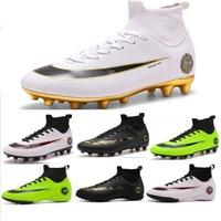 Novos Sapatos De Futebol De Treinamento Dos Homens High Top Tornozelo AG/TF Sole Chuteiras Ao Ar Livre Sapatos de Desporto Mulheres Pico Crampon Futebol turf Botas Mens