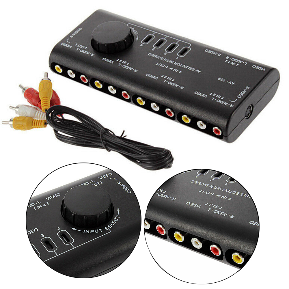 Audio Video 4 In 1 Out RCA Switch Box ABS Home Portable Easy Apply Selector TV DVD Anti Interference Stable Signal Splitter