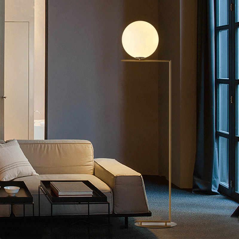 Современный напольный абажур с золотым стеклянным абажуром E27 Торшер для гостиной спальни