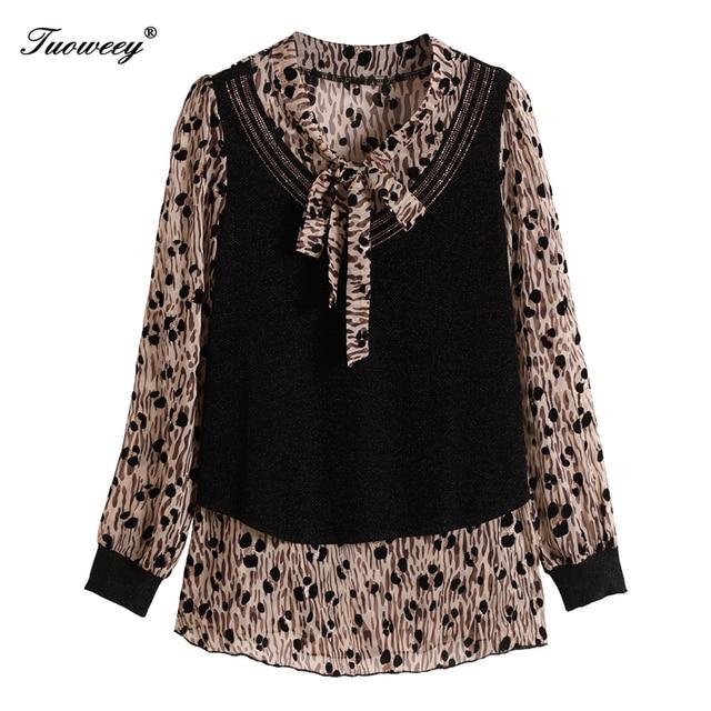 5XL Plus Size Women Blouses 2020 Fashion autumn bow collar long Sleeve leopard Shirt Female Casual tops blusas feminina elegant 5