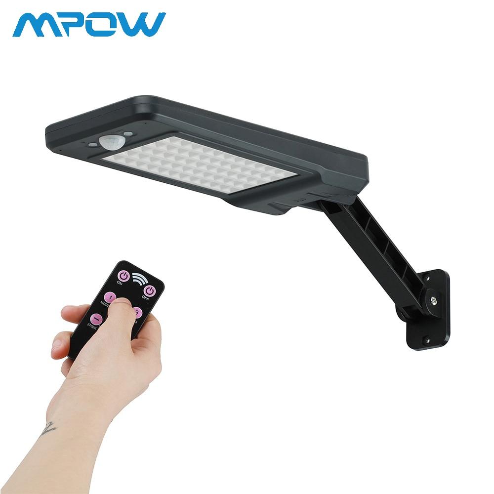Nouveau Mpow 60 LED lumière solaire extérieure lampe murale solaire IP65 étanche Angle réglable sans fil télécommande 900LM jardin lumières