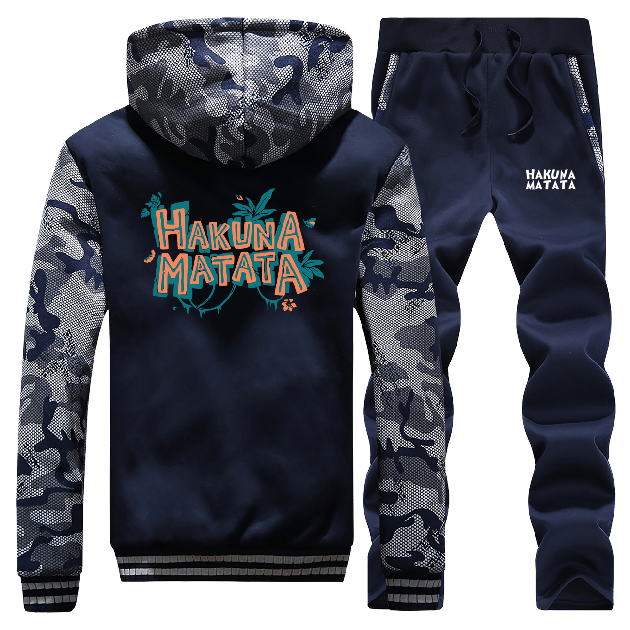 The Lion King Friends Sweatshirt+Sweatpants Mens Hakuna Matata Cartoon Thick Hoodies Hip Hop Zip Men Jacket Harajuku Tracksuit