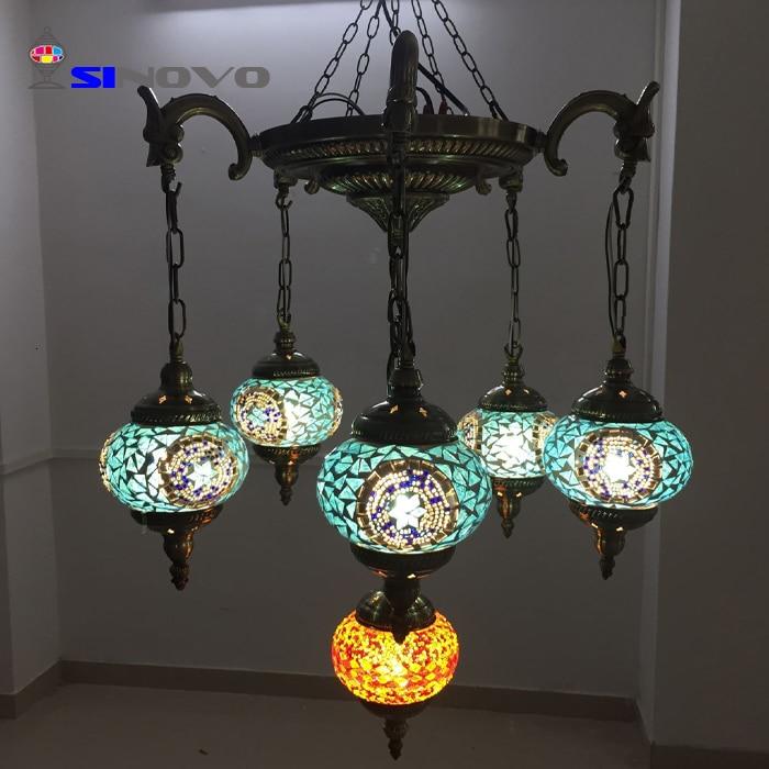6 Sinovo Creativo di Stile Turco di Shenzhen Grande Albergo Ottone Antico Ramo Lampadario con Teste di Luce Lampadario Cucina