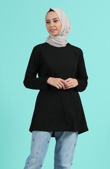 Minahill czarna tunika moda muzułmańska islamska odzież skromne topy arabska odzież długa tunika dla kobiet 3403F-04 tanie i dobre opinie TR (pochodzenie) tops Aplikacje Bluzki i koszule Octan Dla dorosłych