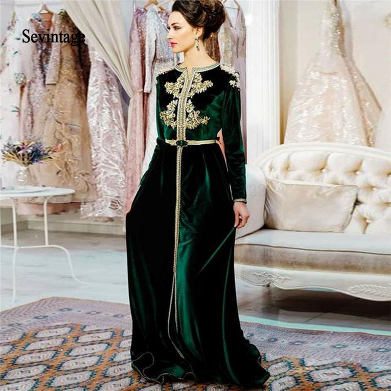 Sevintage Muslim Evening Dress Moroccan Kaftan Long Sleeve Velvet Prom Dresses Arabic Dubai Lace Appliques Robe De Soiree