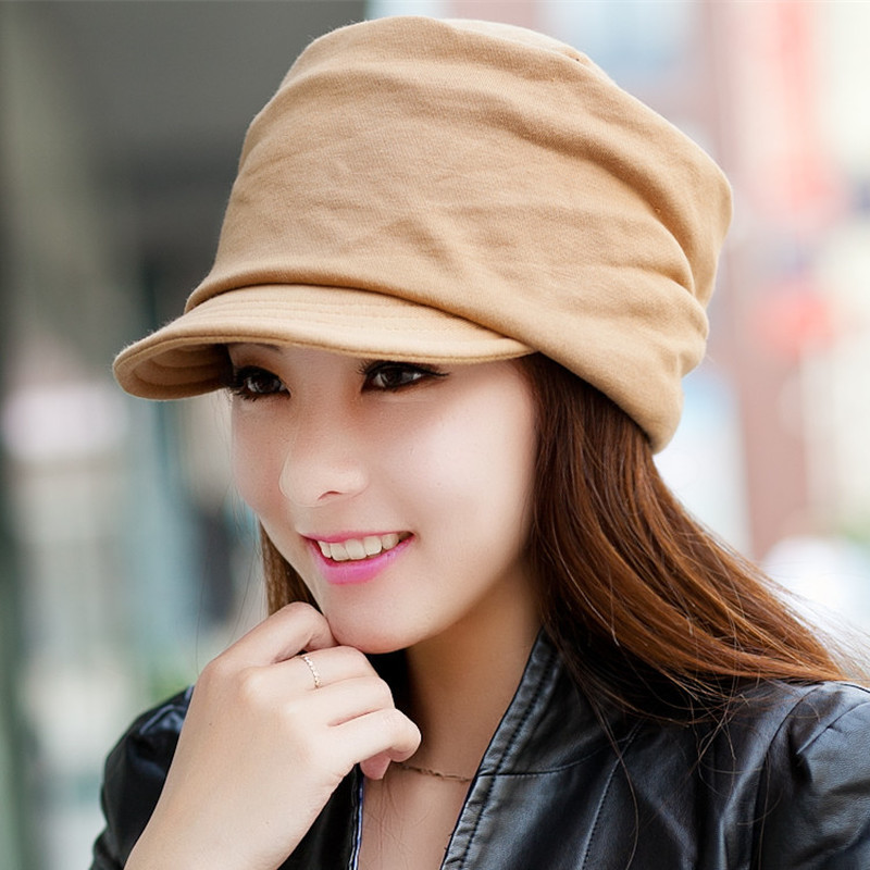 H7710 Women Visor Hat Fall Winter Warm Knit Cap Ladies Solid Color Korean Casual High Quality Fashion Sutdent Girl Shopping Hats