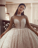 Luxurious Beading Ball Gown Wedding Dresses 2020 Long Sleeves Crystal High Neck Arabic Bridal Gowns Vintage Robe De Mariee