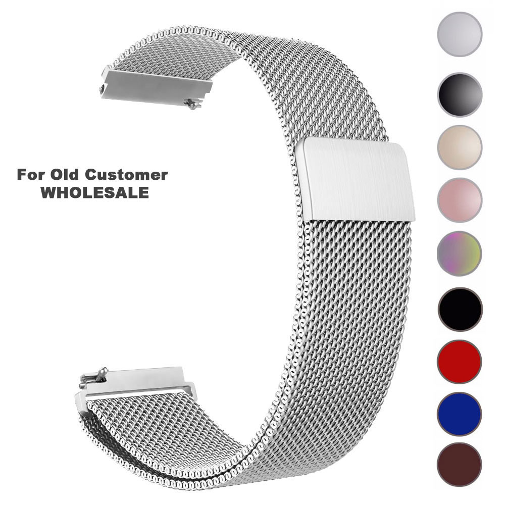 22mm 20mm Stainless Steel WatchBand Milanese Loop Watch Strap Quick Release Pins For Amazifit Huawei Xiaomi Smart Watch Band