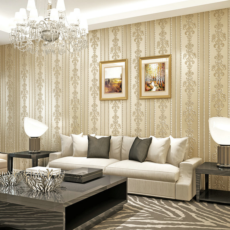 Self Adhesive Wallpaper 3D Relief Nonwoven Fabric Simple European Style Vertical Striped Wallpaper Bedroom Living Room Large Are