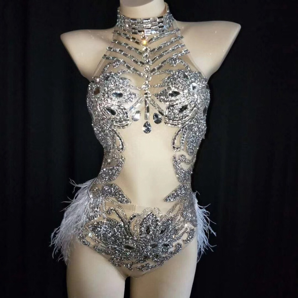 Sparkly Silver Crystals Mesh Bodysuit Women Feather Leotard Outfit Female Bar Dance Stage Party Dance Costume Celebrate Dress