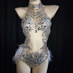 Sparkly Zilveren Kristallen Mesh Bodysuit Vrouwen Veer Turnpakje Outfit Vrouwelijke Bar Dance Stage Party Dance Kostuum Vieren Jurk