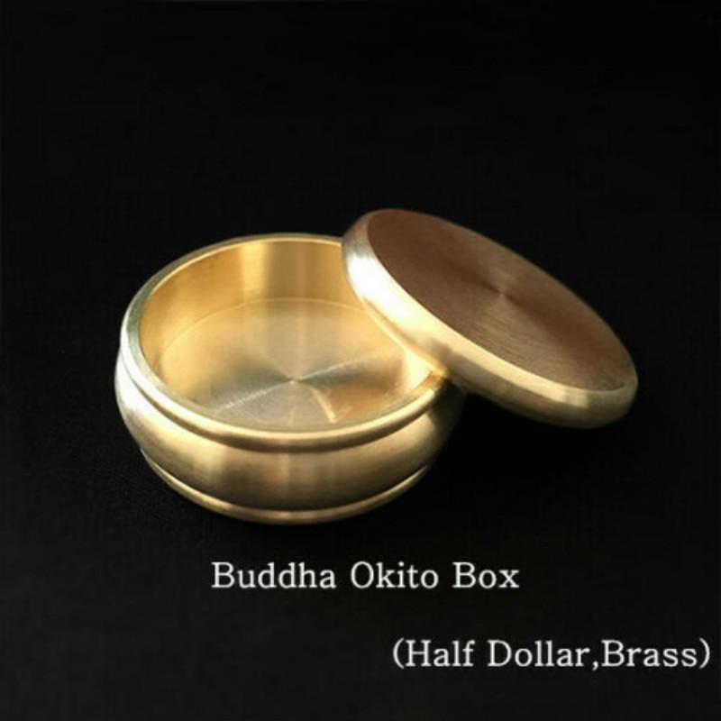 Buddha Okito Box (Half Dollar,Brass) Coin Magic Tricks Illusions Close Up Magic Gimmick Props Magician Coin Appearing Penetrate
