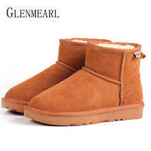 Women Snow Boots Genuine Leather Ankle Boots Warm Winter Shoes Fur Female Flat Boot Platform Round Toe Plus Size Boats Mujer DE цена