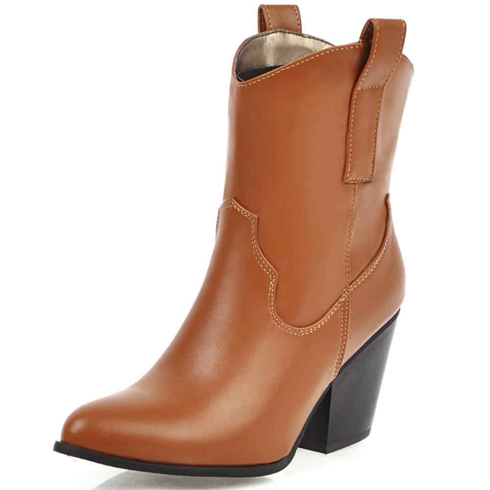 KARINLUNA moda marka bayan rahat ofis çizmeler üzerinde kayma tıknaz topuklu sivri burun siyah çizmeler kadın batı ayakkabı kadın