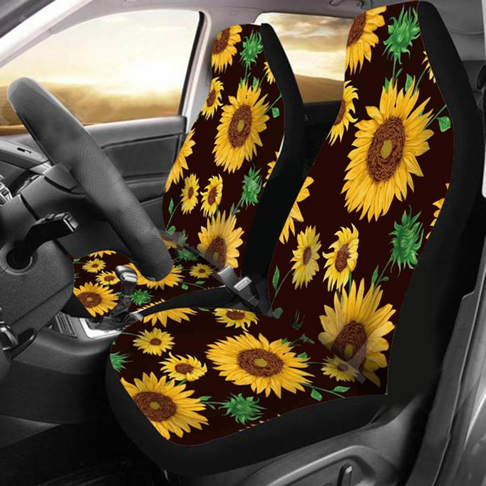 Car Seat Cover Full Wrap Breathable Wear-resistant Sunflower Rose Print Seat Case Protector Polyester Fiber Seat Cover Car