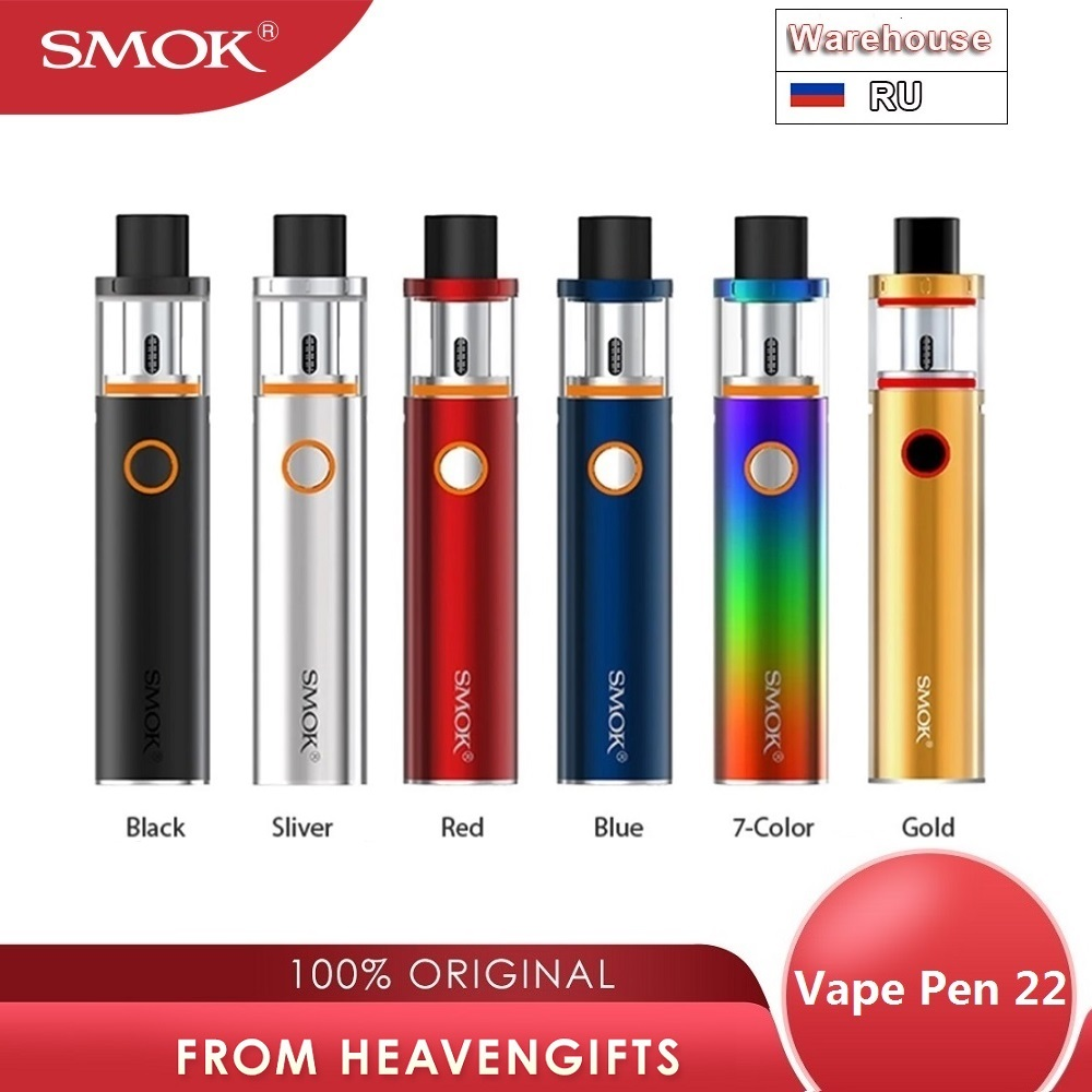 Original SMOK Vape Pen 22 Kit With 1650mAh Battery & 2ml Tank Top Cap Filling E Cig Pen Kit Vaporizer Vs SMOK Nord/ Q16 Pro Kit