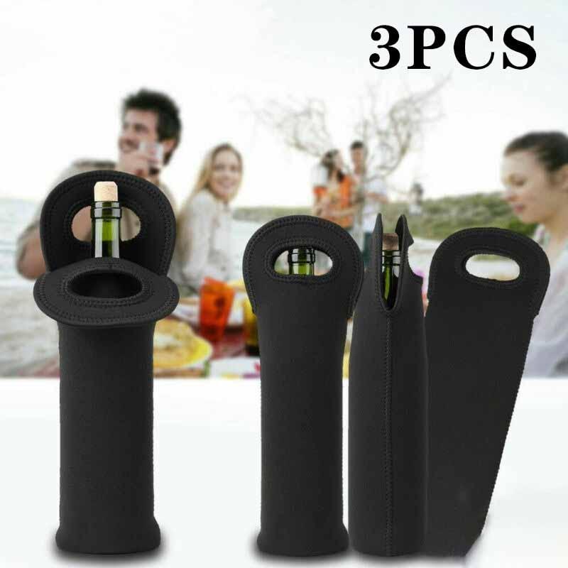 3pcs Single Bottle Bags Neoprene Red Wine Beer Bag Shockproof Coke Bottle Bag Kitchen Dining Bar Supplies