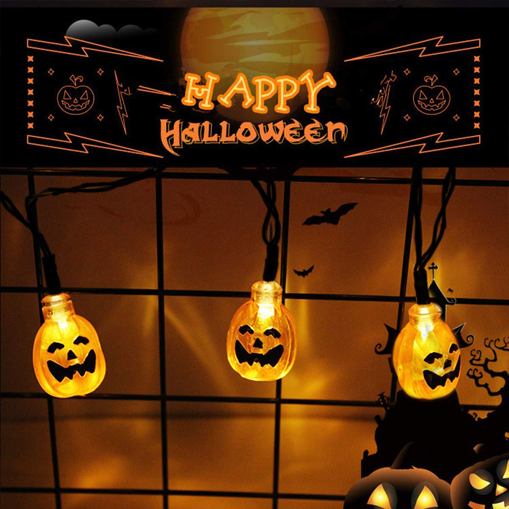 Halloween Pumpkin String Lights 20 30 50 LEDs Solar Powered IP65 Waterproof 8 Modes for Outdoor Decorative Lights Patio Parties in Holiday Lighting from Lights Lighting