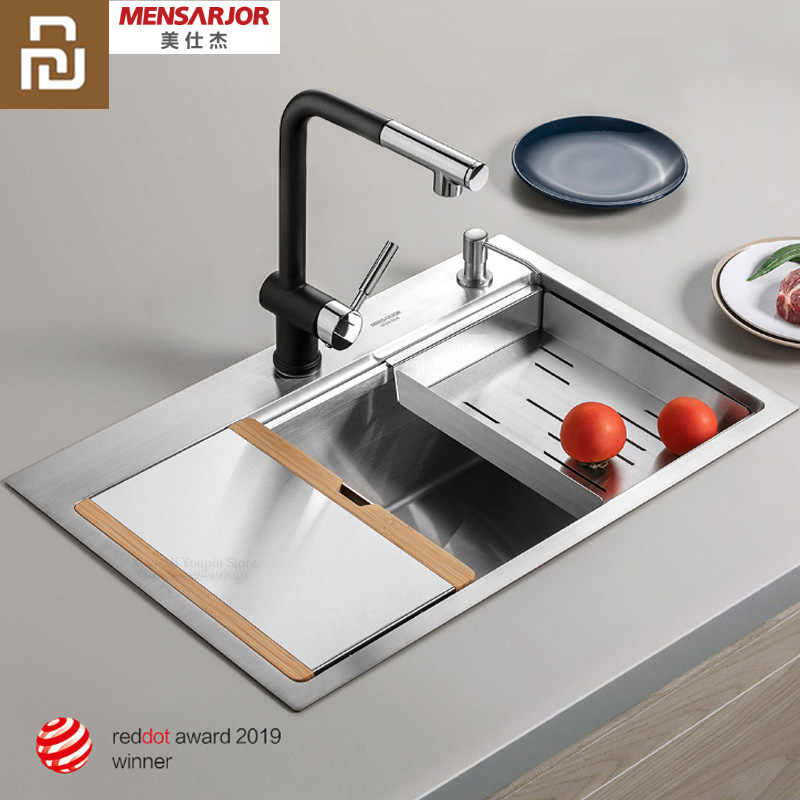 Youpin Kitchen Multi Function Combination Hand Made Sink 50l Stainless Steel Sink With Chopping Board Drain Basket Smart Remote Control Aliexpress