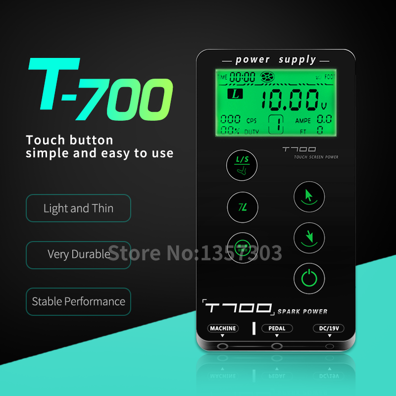 Tattoo Power Supply  For Tattoo Machines Touch Screen Spark Power T700 Digital LCD Makeup Dual Tattoo Accessories Supply