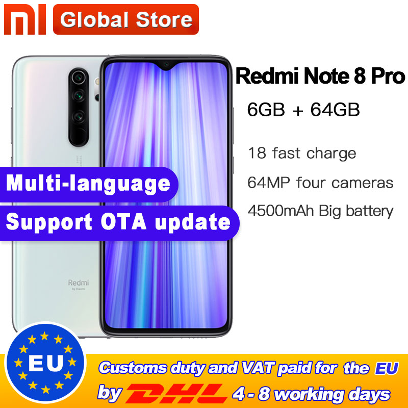 Global ROM Original Xiaomi Redmi Note 8 Pro 64GB 6GB  MTK Helio G90T Smartphone 6.35